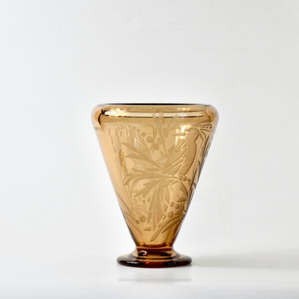 Andre Delatte art deco vase French acid etched glass signed 1925