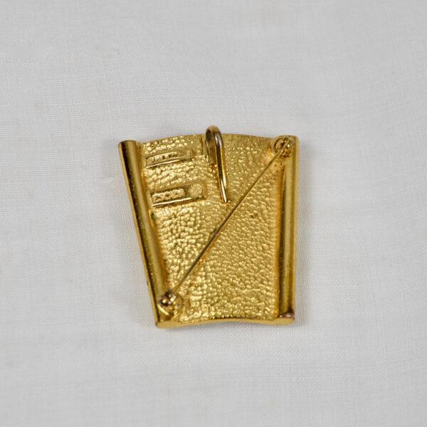 Escada pendant, brooch, faux-amber vintage 1980s Paris designer jewellery couture jewelry 4 2