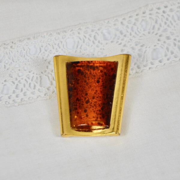 Escada pendant, brooch, faux-amber vintage 1980s Paris designer jewellery couture jewelry 4 3