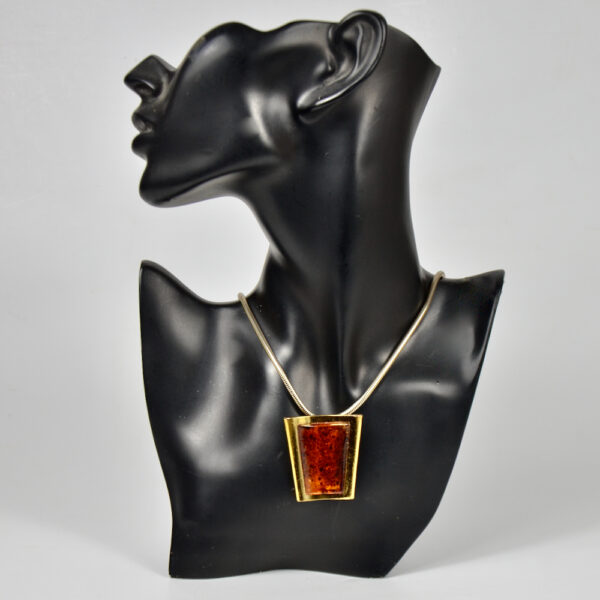 Escada pendant, brooch, faux-amber vintage 1980s Paris designer jewellery couture jewelry 4
