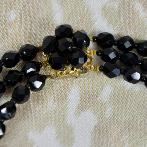 French jet multi-strand cascade necklace faceted beads 1960s 1