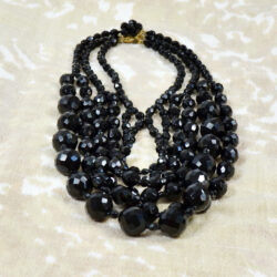 French jet multi-strand cascade necklace faceted beads 1960s 3