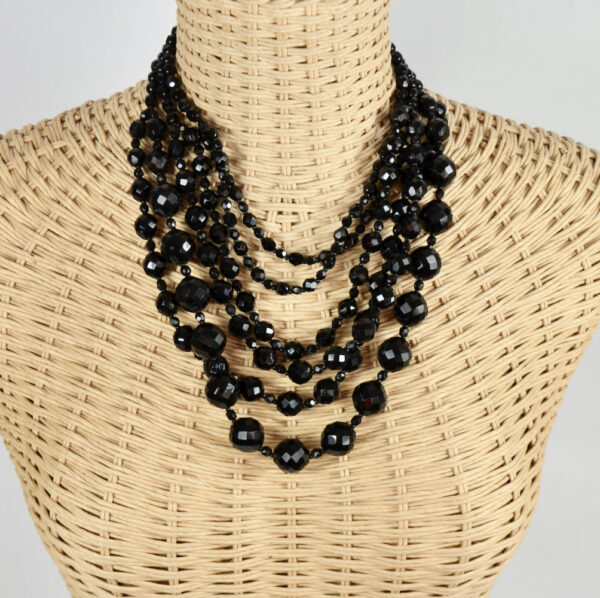 French jet multi-strand cascade necklace faceted beads 1960s 4