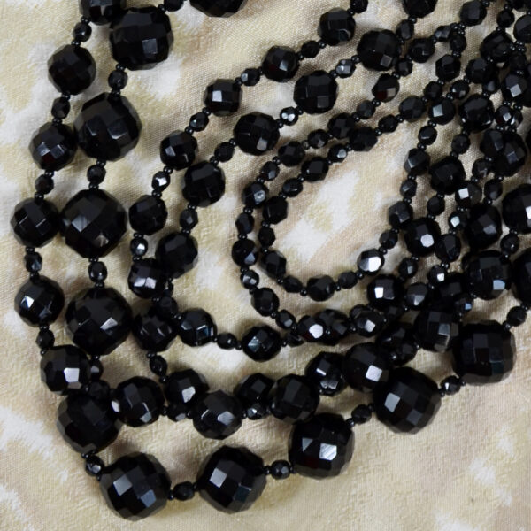 French jet multi-strand cascade necklace faceted beads 1960s