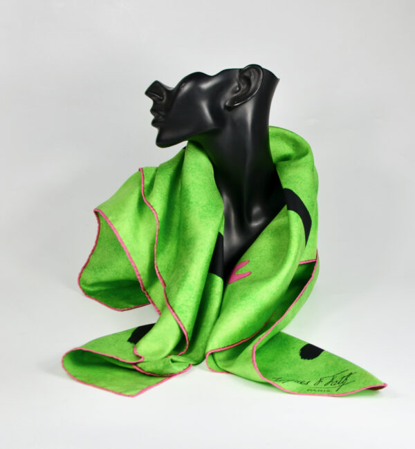Jacques Fath silk scarf emerald green abstract 1960s French designer scarf (1)