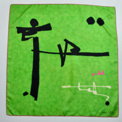 Jacques Fath silk scarf emerald green abstract 1960s French designer scarf 2
