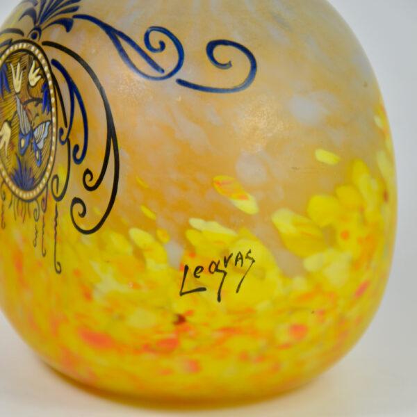 Legras Printania Art nouveau vase 1920 Auray enamelled french glass 2