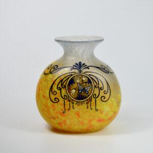 Legras Printania Art nouveau vase 1920 Auray enamelled french glass 3