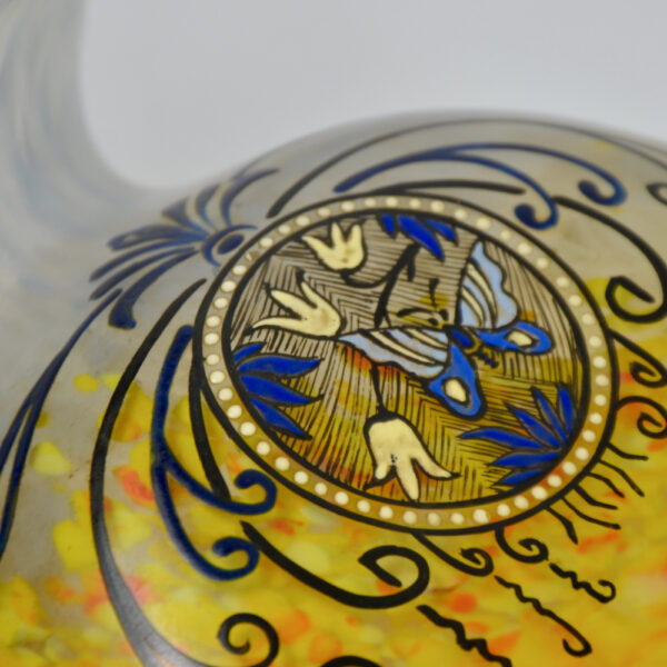 Legras Printania Art nouveau vase 1920 Auray enamelled french glass 4