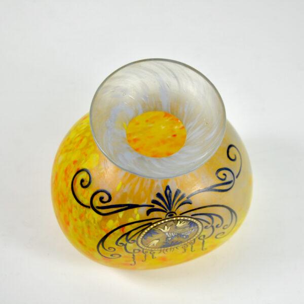 Legras Printania Art nouveau vase 1920 Auray enamelled french glass 5