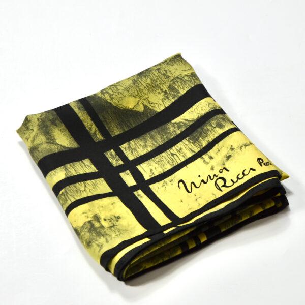 Nina Ricci silk scarf vintage French designer scarf yellow 1960s 4