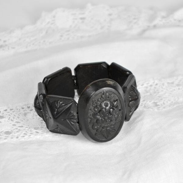 Victorian bog oak bracelet 1850 antique mourning jewelry 2