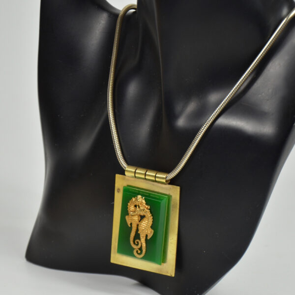 jean painleve green bakelite pendant seahorse vintage 1930s French jewellery 3