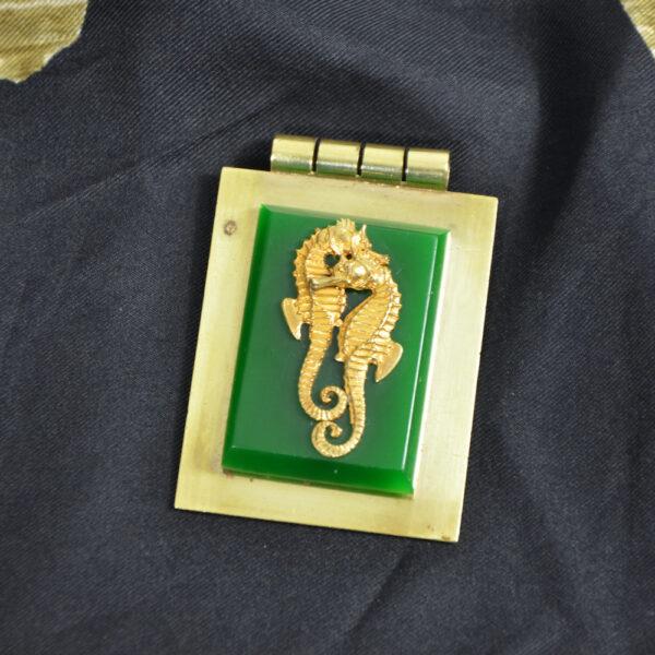 jean painleve green bakelite pendant seahorse vintage 1930s French jewellery