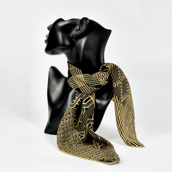 lanvin vintage silk scarf black and brown french designer