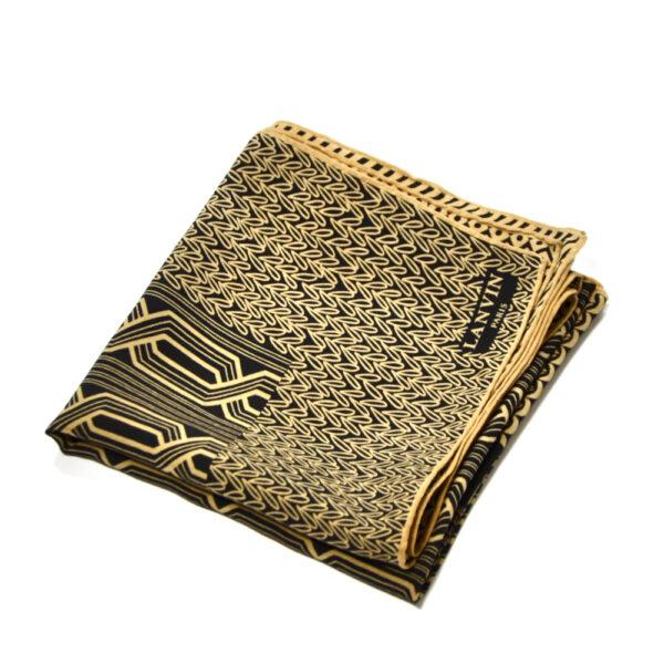 lanvin vintage silk scarf in brown and black 1