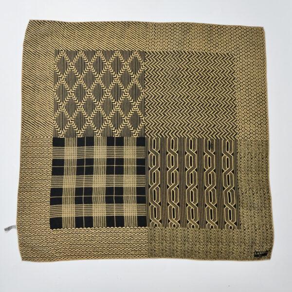 lanvin vintage silk scarf in brown and black