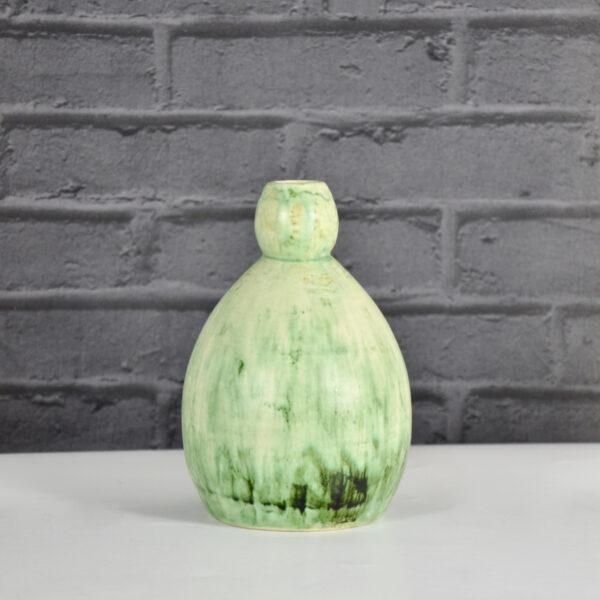 Art Deco double gourd vase Jean-Marie Maure green stoneware pottery grès de Puisaye 1920s 2