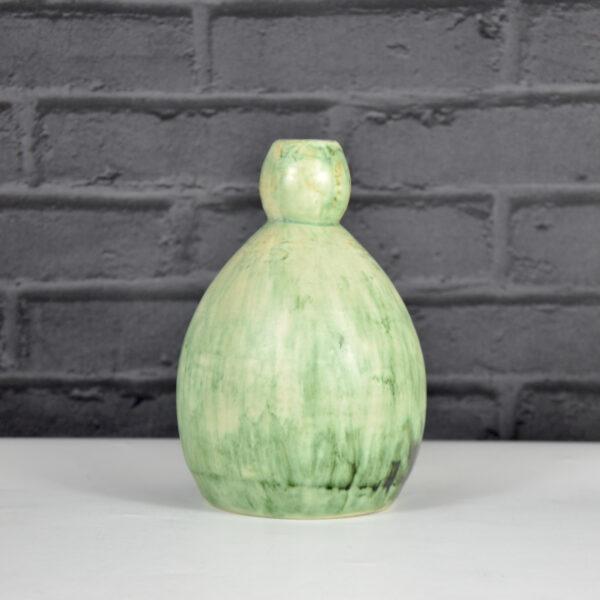 Art Deco gourd vase Jean-Marie Maure green stoneware pottery grès de Puisaye 1920s