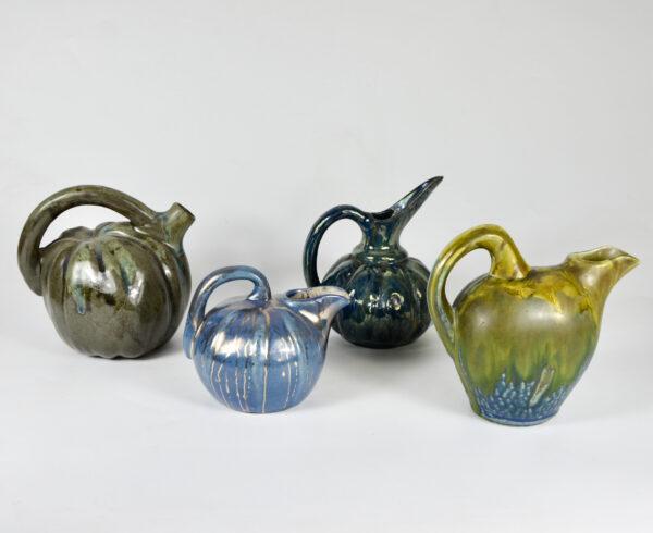 French Art Deco gourd vase glazed stoneware pottery 1930s Metenier Denbac Pointu Rambervillers