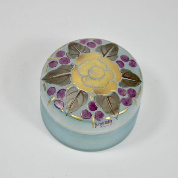 Moda Daum art deco enamelled glass bonbonniere 1920 f