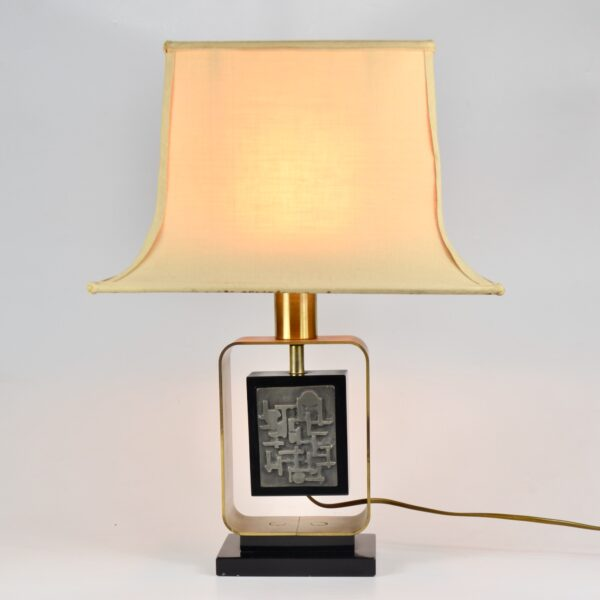 large 1970s table lamp with abstract decor 2
