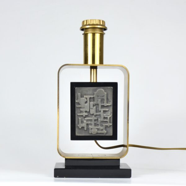 large 1970s table lamp with abstract decor 4