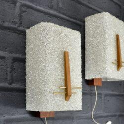 1970s teak and resin sconces wall lights Danish modern minimalist 1