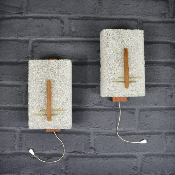 1970s teak and resin sconces wall lights Danish modern crystalline resin minimalist