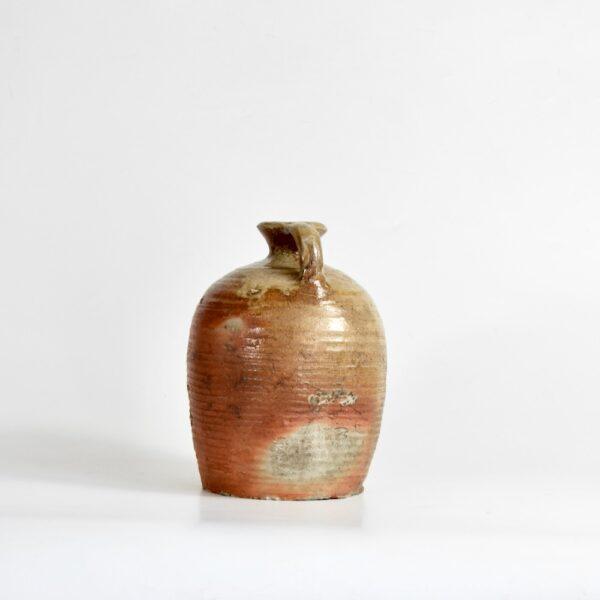 Antique French salt glazed cruche, oil jar, 1800s 1900 1