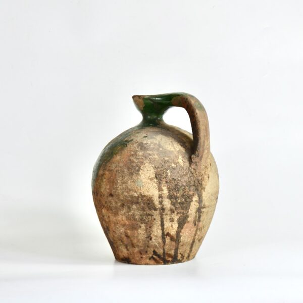 Antique Green Terracotta Cruche, Provençal Water Jug, early 19th century French utilitarian pottery 1