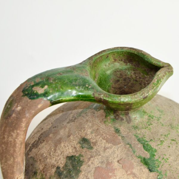 Antique Green Terracotta Cruche, Provençal Water Jug, early 19th century French utilitarian pottery 3