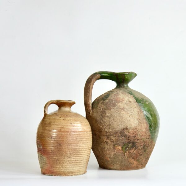 Antique Green Terracotta Cruche, Provençal Water Jug, early 19th century French utilitarian pottery 6