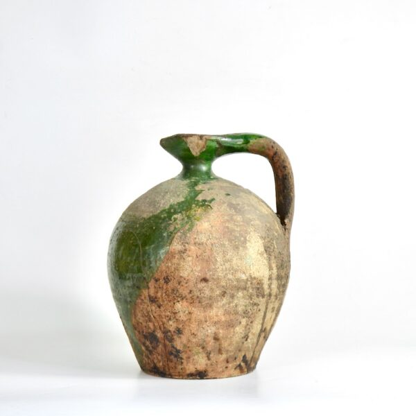 Antique Green Terracotta Cruche, Provençal Water Jug, early 19th century French utilitarian pottery