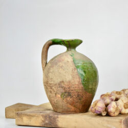 Antique Green Terracotta Cruche, Provençal Water Jug, early 19thc
