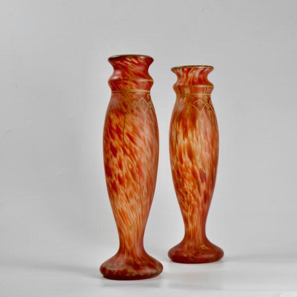Legras glass set of mantel vases garniture of vases, signed, c1920 antique french glasss 1 (1)