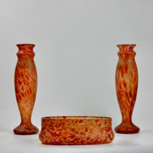 Legras glass set of mantel vases garniture of vases, signed, c1920 antique french glasss (1)