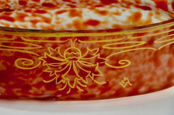 Legras glass set of mantel vases garniture of vases, signed, c1920 antique french glasss 5 (2)