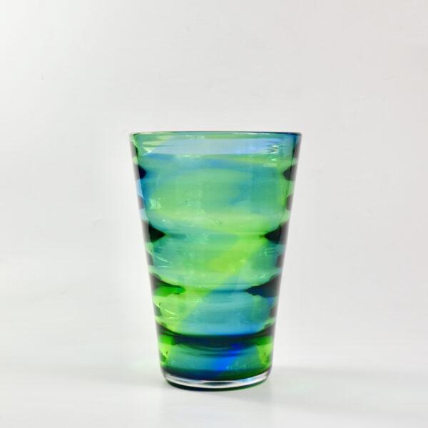 Royal Brierley Stevens and Williams optic rainbow glass vase English art deco glass c1935 1