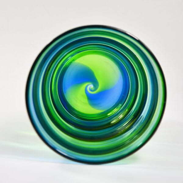 Royal Brierley Stevens and Williams optic rainbow glass vase English art deco glass c1935 2
