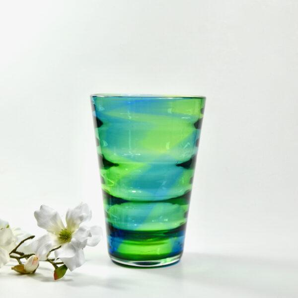Royal Brierley Stevens and Williams optic rainbow glass vase English art deco glass c1935