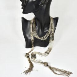 1920s Lariat sautoir silver black woven flapper beads necklace 1
