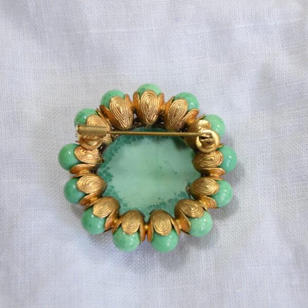 1930s gilt brooch Czech glass turquoise beads 1