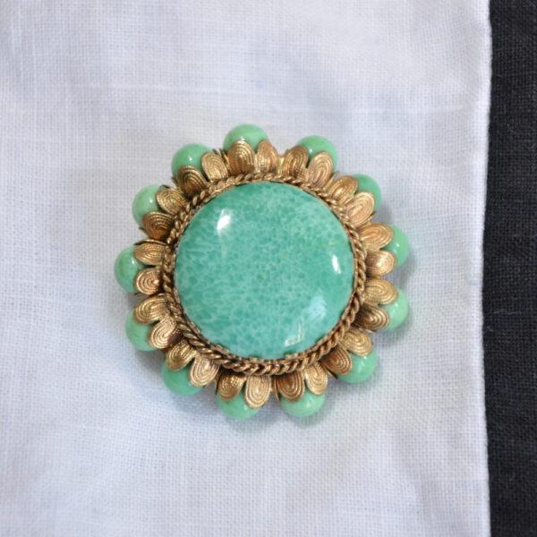 1930s gilt brooch Czech glass turquoise beads
