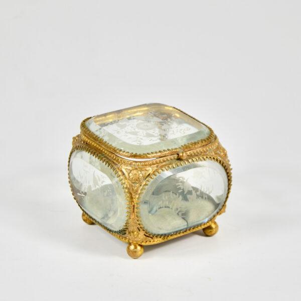 19thc French bevelled glass reliquary jewellery box ormolu napoleon III