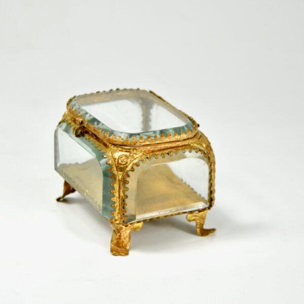 19thc French bevelled glass reliquary jewellery box ormolu yellow silk lining napoleon III 3