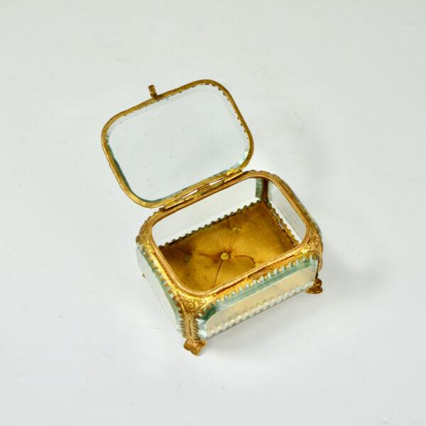 19thc French bevelled glass reliquary jewellery box ormolu yellow silk lining napoleon III 4
