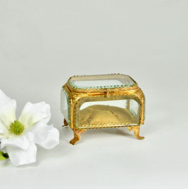 19thc French bevelled glass reliquary jewellery box ormolu yellow silk lining napoleon III 6