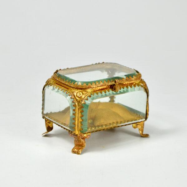 19thc French bevelled glass reliquary jewellery box ormolu yellow silk lining napoleon III