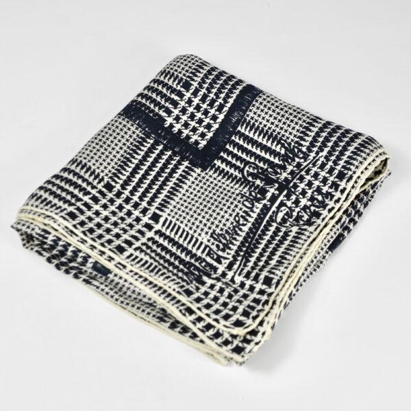 Madeleine de Rauch silk scarf black white houndstooth vintage french designer scarf 6